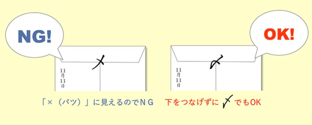 封筒 締めマーク