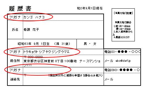 履歴書 振り仮名