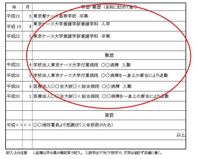 履歴書 学歴 職歴